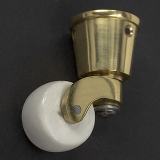 Castor Brass ROUND CUP 32mm White Ceramic Wheel