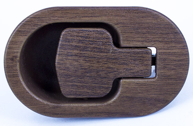 Recliner Handle Car Door Flapper Style Oval Walnut